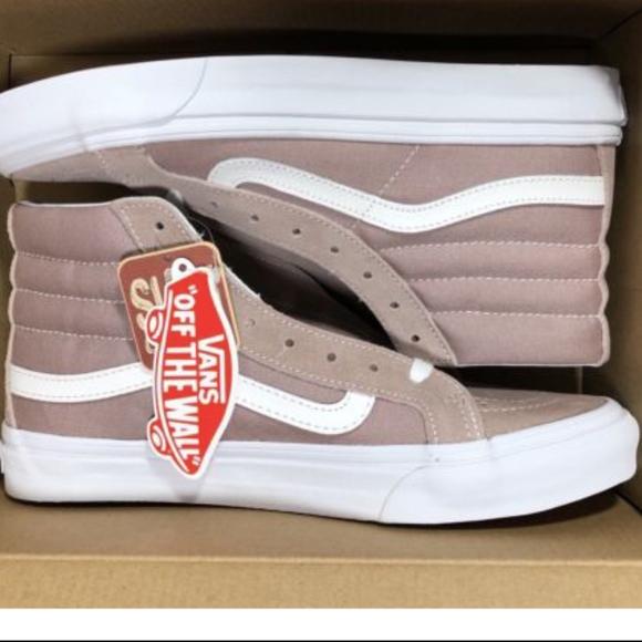 704aa9c8b0 Vans Sk8 Hi Slim Suede Canvas Fawn White Shoes